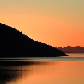 Saltspring Island at dawn by Campbell McCubbin - Landscapes Sunsets & Sunrises ( water, reflection, sunrise, saltspring island, island )
