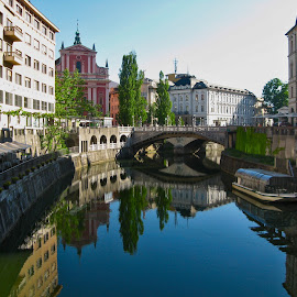 Ljubljana by Спасе Милески - Buildings & Architecture Other Exteriors ( center, buildings, bridge, river, city )