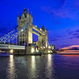 Night view of Tower Bridge in London by Stanley Loong - Buildings & Architecture Public & Historical ( thames river, tourist attraction, england, blue sky, london, night view, tower bridge, scenery, view, landscape, united kingdom, serenity, blue, mood, factory, charity, autism, light, awareness, lighting, bulbs, LIUB, april 2nd )