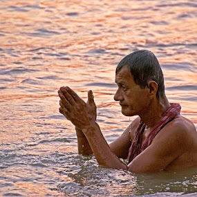 Offering Prayer by Sutapa Karmakar - People Portraits of Men