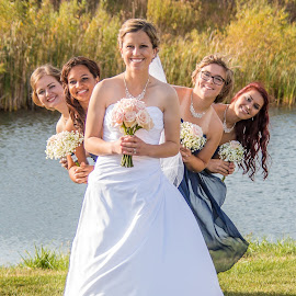 Happy Girls by Shari Brase-Smith - Wedding Groups ( bridesmaids, wedding photography, wedding, beauty, group, pretty )