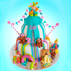 Circus Cake by Glenn Visser - Food & Drink Cooking & Baking ( child, birthday, cake, party, circus )