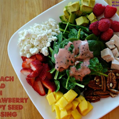 Spinach Salad with Strawberry Poppy Seed Dressing/ Chicken Lettuce Wraps