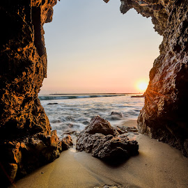 Crown of the Sea by Givanni Mikel - Landscapes Caves & Formations ( corona del mar, sunset, california, ocean, rock, cave )