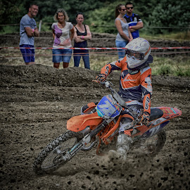 Steering Or Braking ! by Marco Bertamé - Sports & Fitness Motorsports ( curve, motocross, speed, dust, steering, clumps, number, 72, race, accelerating, noise )