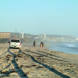 Walking down the beach to another world by John Pobursky - Landscapes Beaches ( internationalborders, san_diego, mexico, california, border_field_state_park, tijuana )