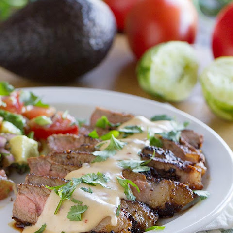 Steaks with Mexican Spices and Chile Con Queso