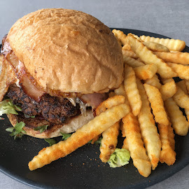 A Burger With The Lot! by Dawn Simpson - Food & Drink Plated Food ( lunch, burger, fast food, unhealthy, fries )