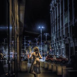 A Wroclaw Street Scene by Adam Lang - City,  Street & Park  Street Scenes ( street, poland, night, wroclaw, girl )