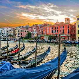 Venice Sunset by Ted Urquhart - City,  Street & Park  Vistas ( sunset, venice, italy )