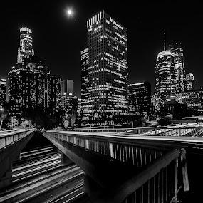 Downtown LA by John Brock - Black & White Buildings & Architecture ( moon, black and white, buildings, los angeles, long exposure )