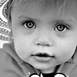 You Have the Biggest Eyes B&W by Cheryl Korotky - Black & White Portraits & People