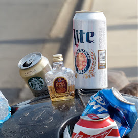 Race Day Recycling by Sheree Chalfant Troy - Food & Drink Alcohol & Drinks ( waste, recycle, nascar, drunk, booze, trash, liquor )