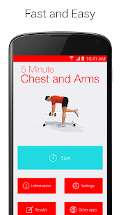 5 Minute Chest and Arms Fitness app screenshot for Android
