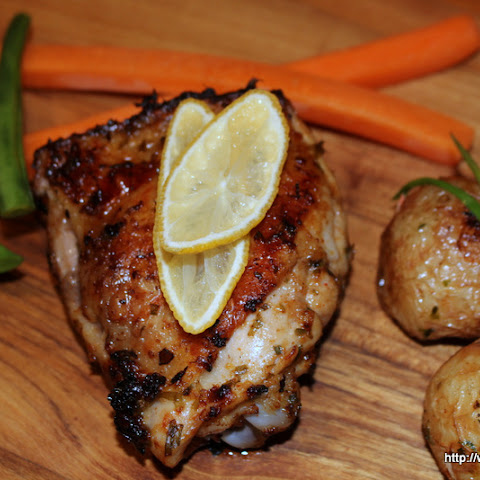 Joanna's Roast Chicken with Wine and Herbs served with Roasted Potatoes, Carrots and Green Beans