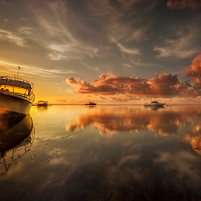 The Flare by Choky Ochtavian Watulingas - Landscapes Waterscapes ( clouds, sky, boats, reflections, seascape, sunrise, golden hour )