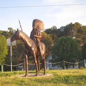 Indian and Horse by David Jarrard - City,  Street & Park  Street Scenes ( stature, walton georgia, horse, indian,  )