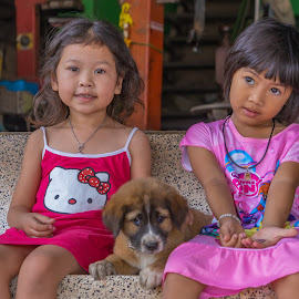 Two cute Children and puppy. by John Greene - Babies & Children Child Portraits ( children portrait, cute puppy, cute children, cute kids and puppy, thailand, cute kids, john greene, thai kids )