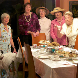 Lady's Tea Time by Sandy Scott - People Family ( tea time, cups, ritual, chairs, table, tea, women, lady's tea, food, gathering, greyhound, dog, celebrate, english,  )
