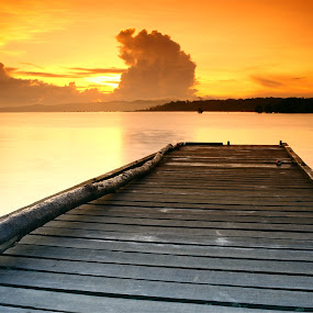 Sunrise at Buntal by Sunny Wong - Landscapes Weather ( water, silent, buntal, wood, pwcautumn, sea, cloud, ocean, sunrise, landscape, filter )