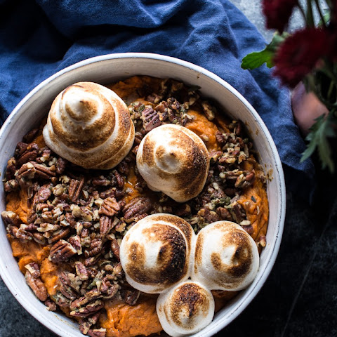 Lighter Baked Sweet Potato Casserole with Maple Toasted Marshmallow.
