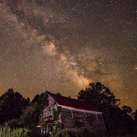 Milky Way Over an Abandoned Store by Carol Ward - Buildings & Architecture Decaying & Abandoned ( andrew, milky way galaxy, abandoned building, buildings, maryland, architecture, night sky, milky way, abandoned )