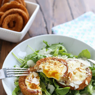 Onion Ring Fried Eggs with Arugula Salad