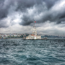 Kiz Kulesi  by Dural Yusein - Buildings & Architecture Statues & Monuments ( clouds, bosporus, sea, istanbul )