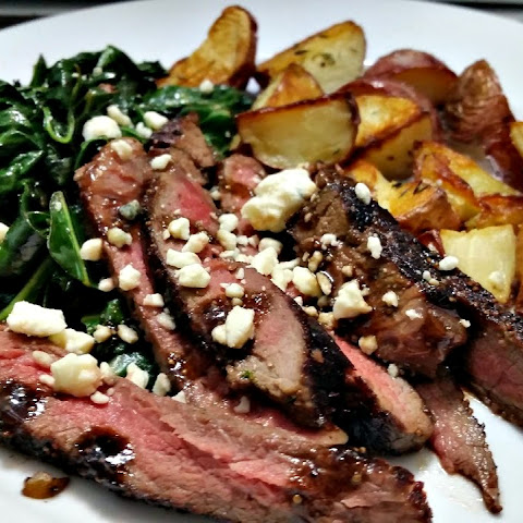 Steak with Balsamic Fig Jam, Roasted Potatoes and Greens