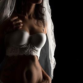 Shadow bridal image by Lisa Steyn - Nudes & Boudoir Boudoir ( lingerie, bridal, shadow, woman, white, dark, long, hair, sensual )