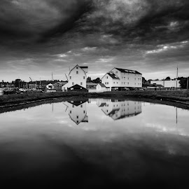 Tide Mill by Simon Talbot-Hurn - Buildings & Architecture Public & Historical ( clouds, water, mill, uk, reflection, black and white, suffolk, reflections, woodbridge, tide mill )
