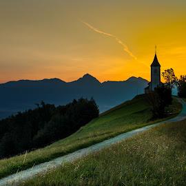 Sunrise by Branko Balaško - Landscapes Mountains & Hills ( mountain, church, pentax, road, sunrise, branko balasko )