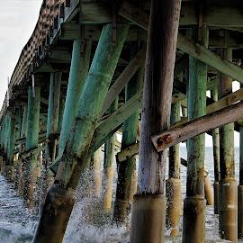 Flagler Pier by Priscilla Renda McDaniel - Buildings & Architecture Bridges & Suspended Structures ( famous, wooden, waves, popular, pier, atlantic )