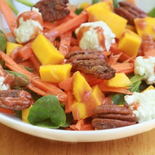 Candied Pecan and Goat Cheese Salad with Spicy Roasted Strawberry Dressing