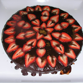 Chocolate 12 inch Skillet Cake by Rita Goebert - Food & Drink Cooking & Baking ( homemade cakes; skillet cakes; fruit decorations; glaze; chocolate cakes )
