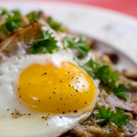 Good Luck Brekkie (aka - Veggie Hoppin' John over Soysage Fried Rice with a Fried Egg on Top)
