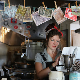 She works at the diner. by Robin Rawlings Wechsler - People Street & Candids ( woman, cafe, restaurant, cashier, portrait, diner )