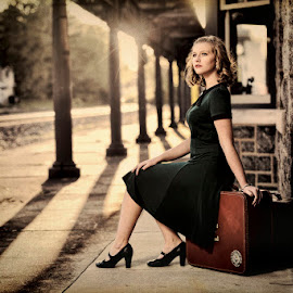 by Glenn Riegel - People Fashion ( model, green, sundown, luggage )