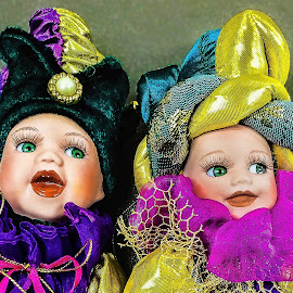 Mardi Gras Jesters by Judy Rosanno - Artistic Objects Toys ( china dolls, jesters, dolls, toys, mardi gras, clowns )