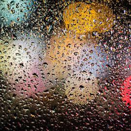 Rain by Tritirtha Roy - Abstract Water Drops & Splashes ( lights, water, water drops, light painting, waterdrop, raindrop, raindrops, rain drops, waterdrops, light, bokeh, rain, water drop )