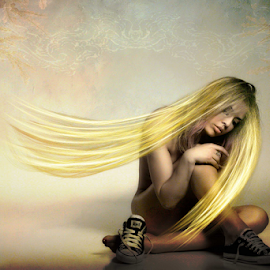 Introspective Beauty by David Baker - Digital Art People ( abstract, female, texture, background, beauty, composite )