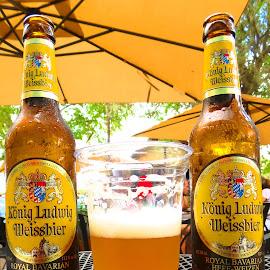 Konig Ludwig Hefe-Weizen by Rita Goebert - Food & Drink Alcohol & Drinks ( hefe-weizen; konig ludwig; wheat beer; :yalaha bakery; florida; yalaha; outdoor entertainment; beer garden atmosphere )