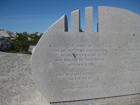 IN MEMORY OFTHE 229 MEN, WOMEN AND CHILDRENABOARD SWISSAIR FLIGHT 111WHO PERISHED OFF THESE SHORESSEPTEMBER 2, 1998 THEY HAVE BEEN JOINED TO THE SEA AND THE SKY MAY THEY REST IN PEACE This photo ...