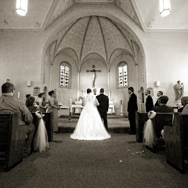old school by Jody Jedlicka - Wedding Ceremony ( wedding photography, wedding, midwest, sanctuary, blacka nd white )