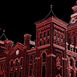 Same courthouse done in neon red! by Dana Wilson - Digital Art Things