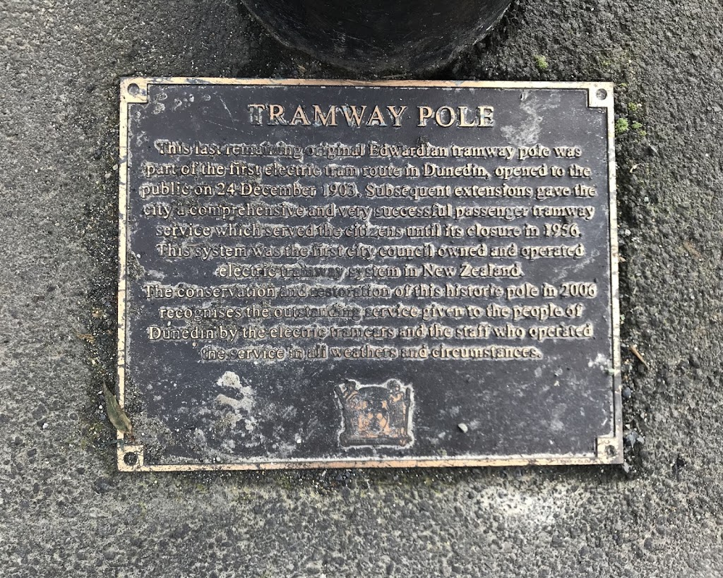This last remaining original Edwardian tramway pole was part of the first electric tram route in Dunedin, opened to the public on 24 December 1903. Subsequent extensions gave the city a comprehensive ...