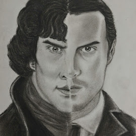 Sher-iarty by Akhil D B - Drawing All Drawing ( charcoal, sketch, fan art, moriarty, chiaroscuro, sherlock )