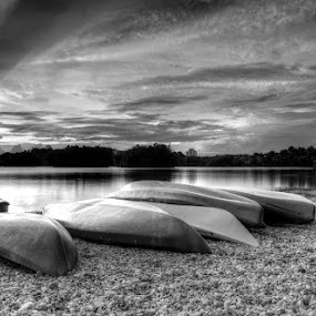 Shadow On The Sky #2 (in Black and White HDR) by Syafiqjay  Sj - Landscapes Waterscapes ( syafiqjay, flickr, cokin, hdr, black and white, sunset )