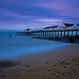Deep Blue by Simon Talbot-Hurn - Landscapes Beaches ( east coast, southwold, water, suffolk, pier, long exposure, beach, landscape )