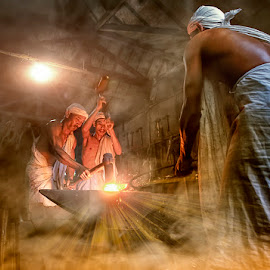 Men at work by Indrawan Ekomurtomo - People Portraits of Men